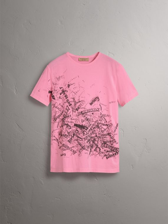 Doodle Print Cotton T-shirt in Bright Rose Pink - Women | Burberry - cell image 3