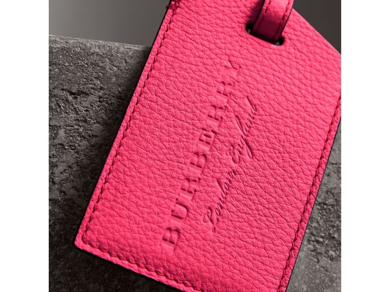Embossed Leather Luggage Tag in Bright Pink | Burberry - cell image 1