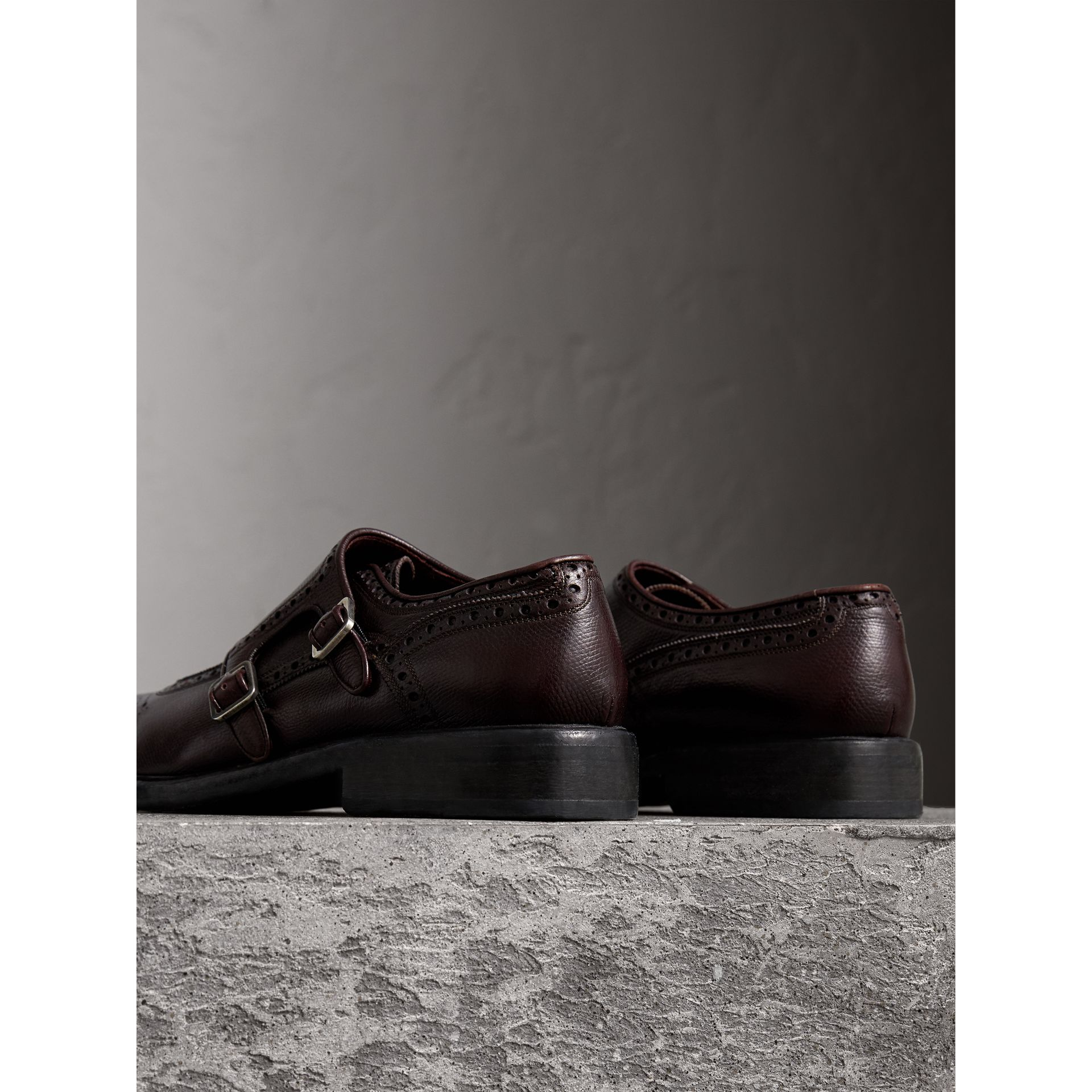 Brogue Detail Textured Leather Monk Shoes in Burgundy Red - Men | Burberry - gallery image 3
