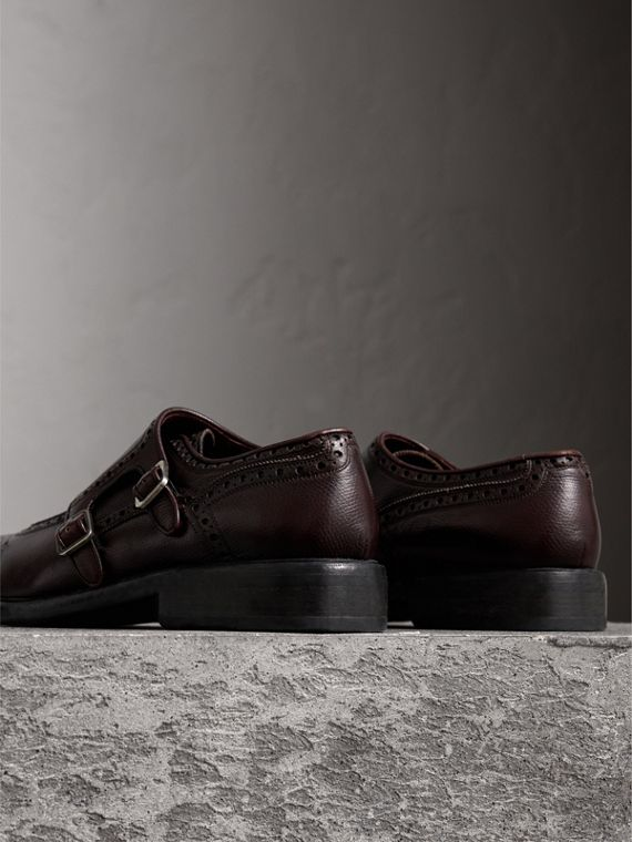 Brogue Detail Textured Leather Monk Shoes in Burgundy Red - Men | Burberry Singapore - cell image 3