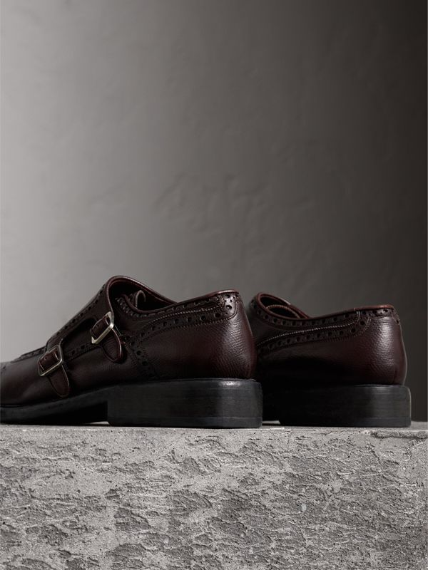 Brogue Detail Textured Leather Monk Shoes in Burgundy Red - Men | Burberry - cell image 3
