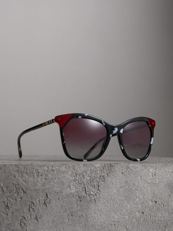 Marble-effect Square Frame Sunglasses in Dark Grey