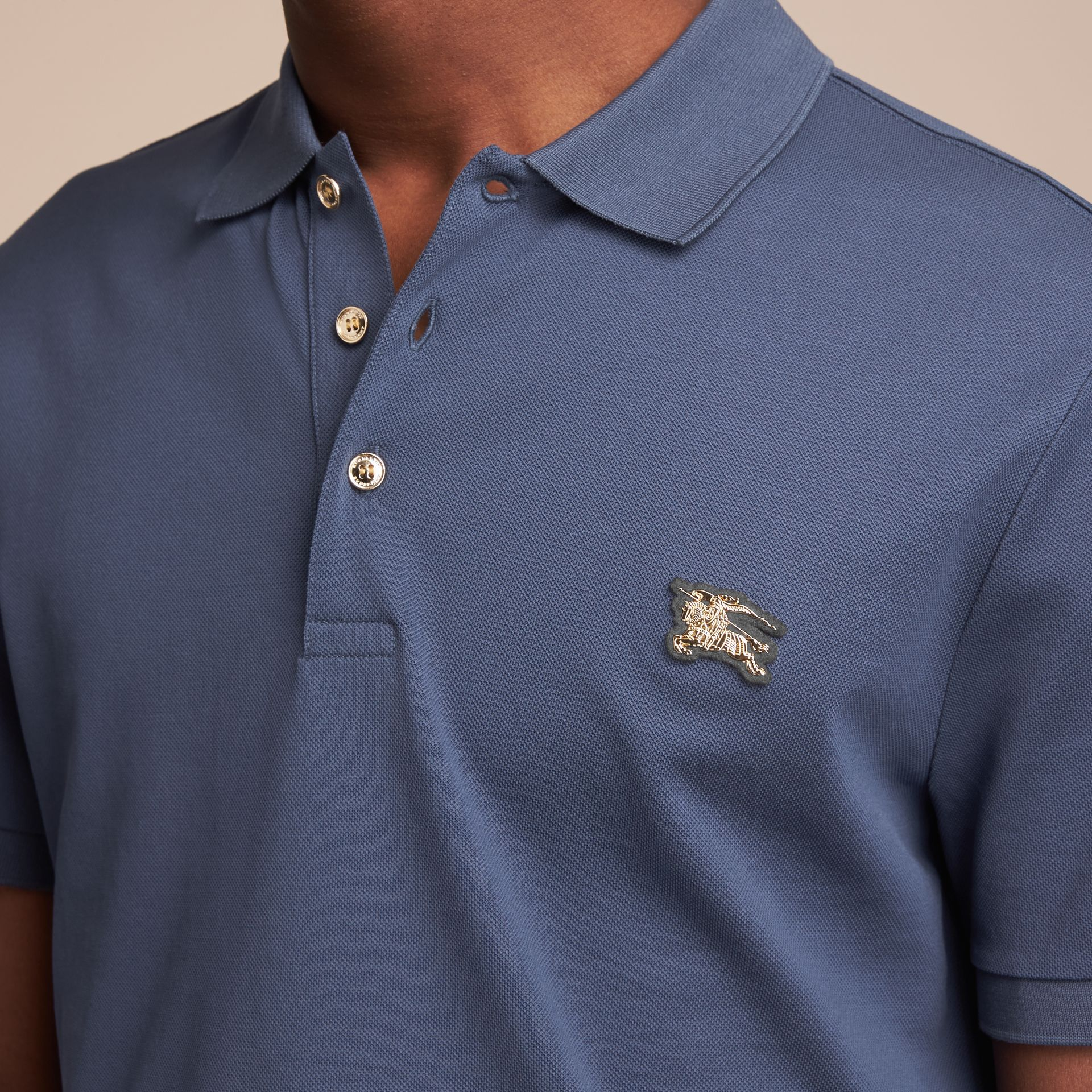Cotton Piqué Polo Shirt Steel Blue - gallery image 5