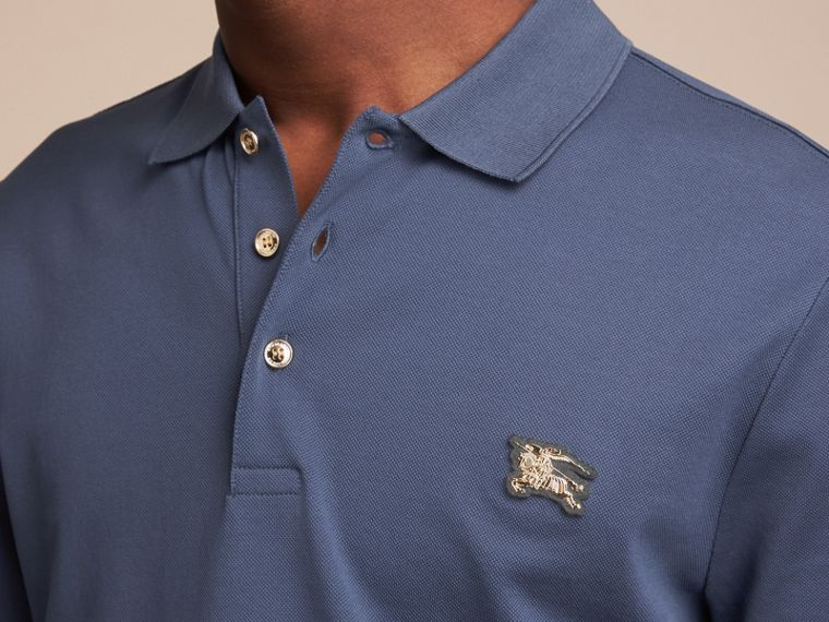 Cotton Piqué Polo Shirt in Steel Blue - cell image 4