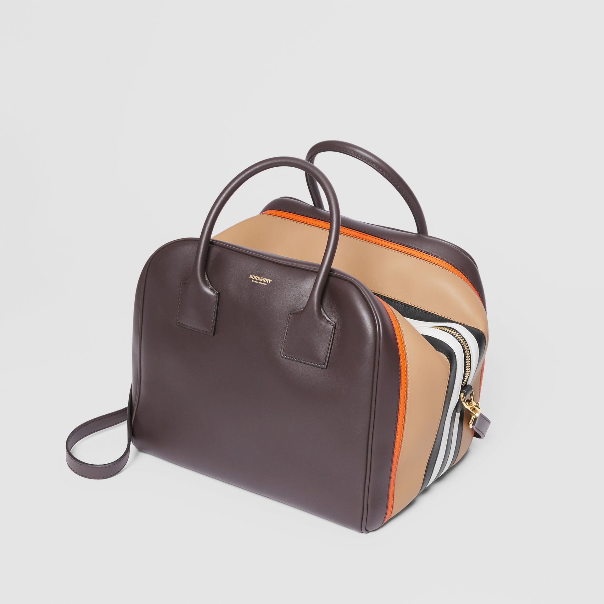 Medium Stripe Intarsia Leather Cube Bag in Coffee/pumpkin - Women | Burberry - gallery image 3