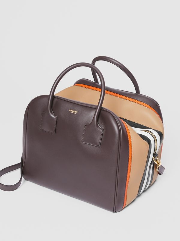 Medium Stripe Intarsia Leather Cube Bag in Coffee/pumpkin - Women | Burberry Canada - cell image 3