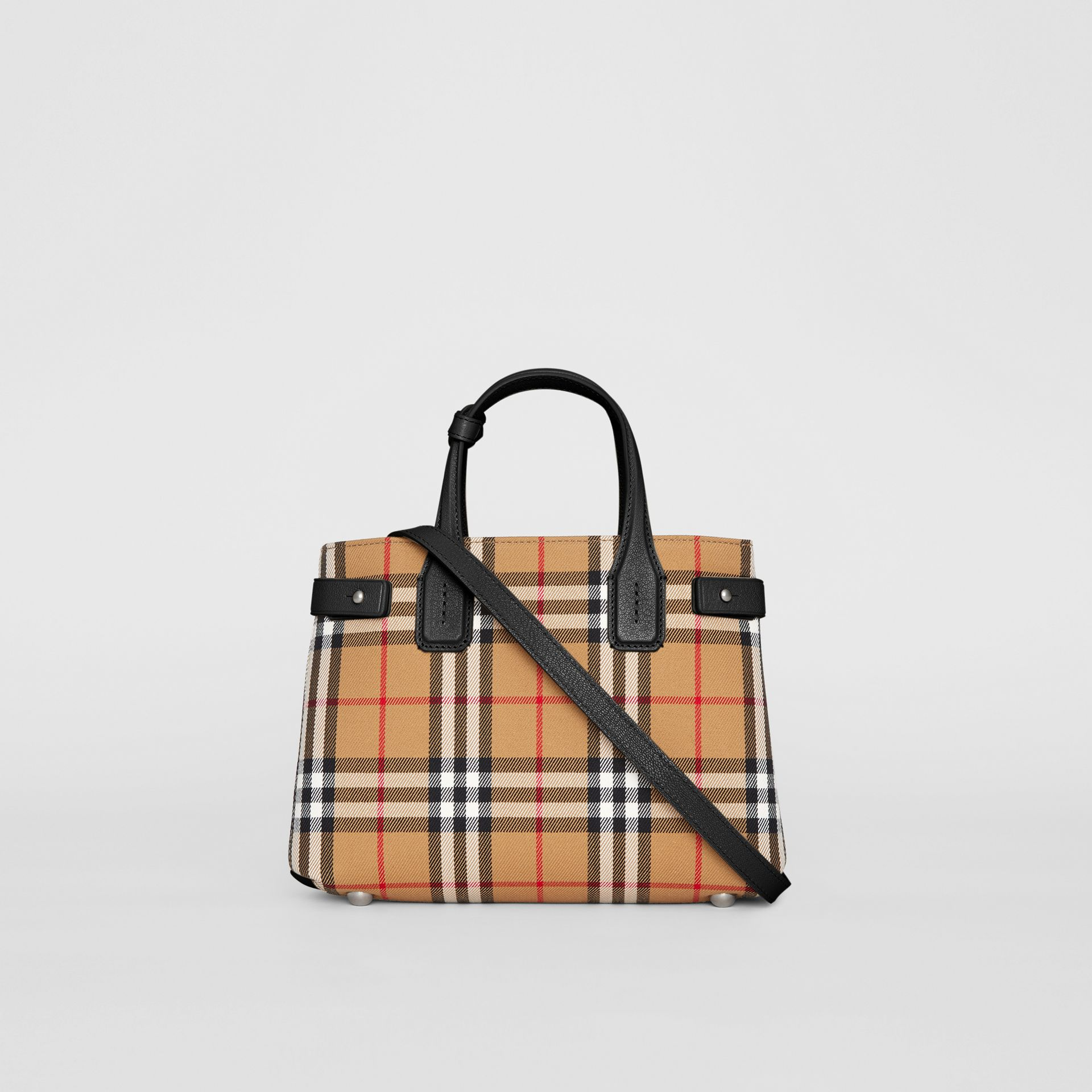 The Small Banner in Vintage Check and Leather in Black - Women | Burberry Singapore - gallery image 7