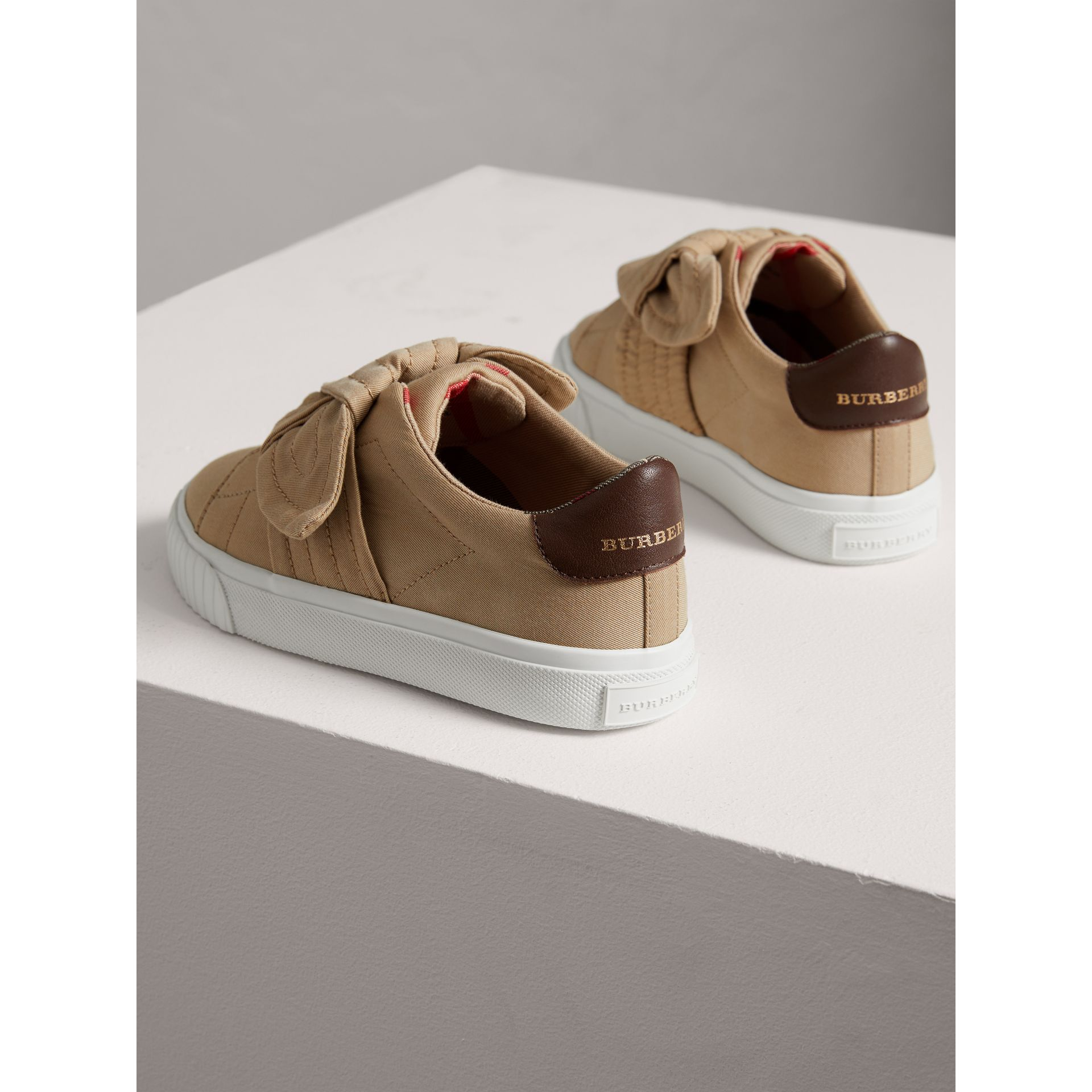Trench Knot Cotton Gabardine Sneakers in Honey - Children | Burberry - gallery image 2