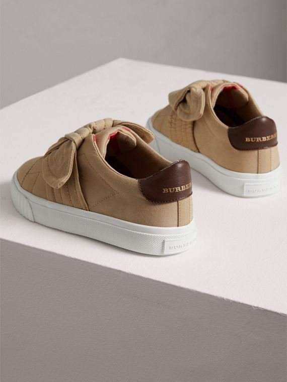 Trench Knot Gabardine Trainers in Honey | Burberry - cell image 2
