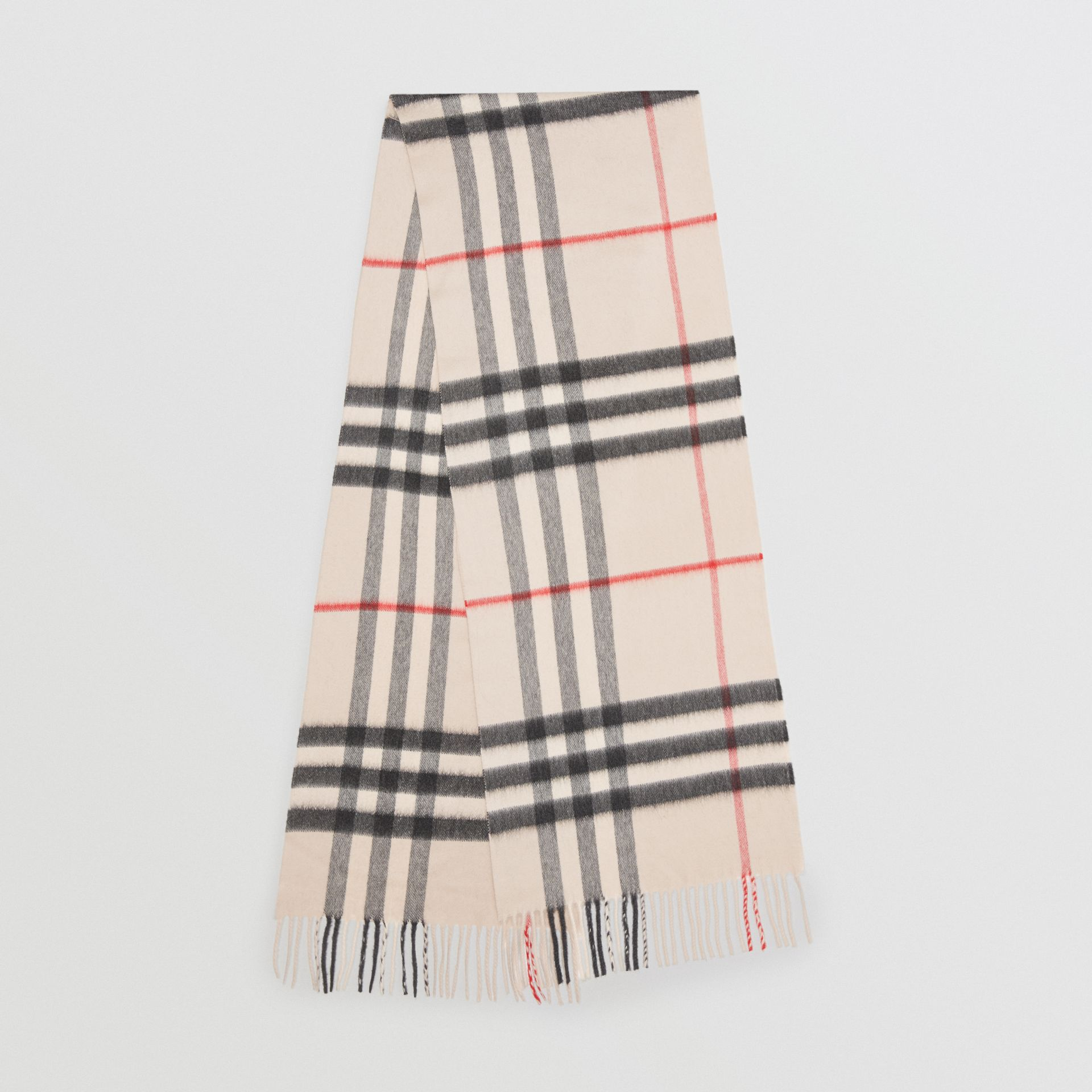 The Classic Check Cashmere Scarf in Stone | Burberry United Kingdom - gallery image 0