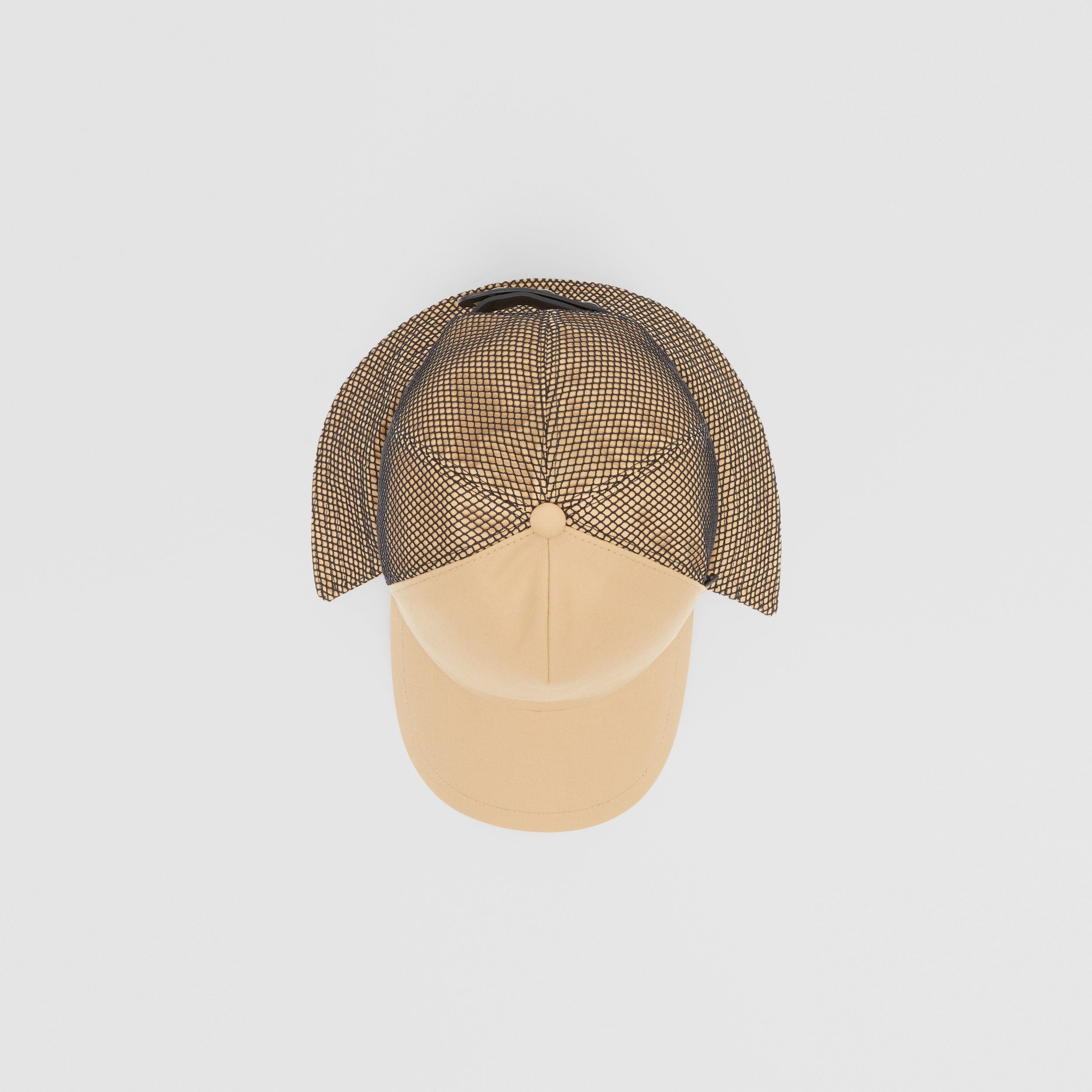 Cotton Gabardine Reconstructed Baseball Cap in Honey | Burberry - 1