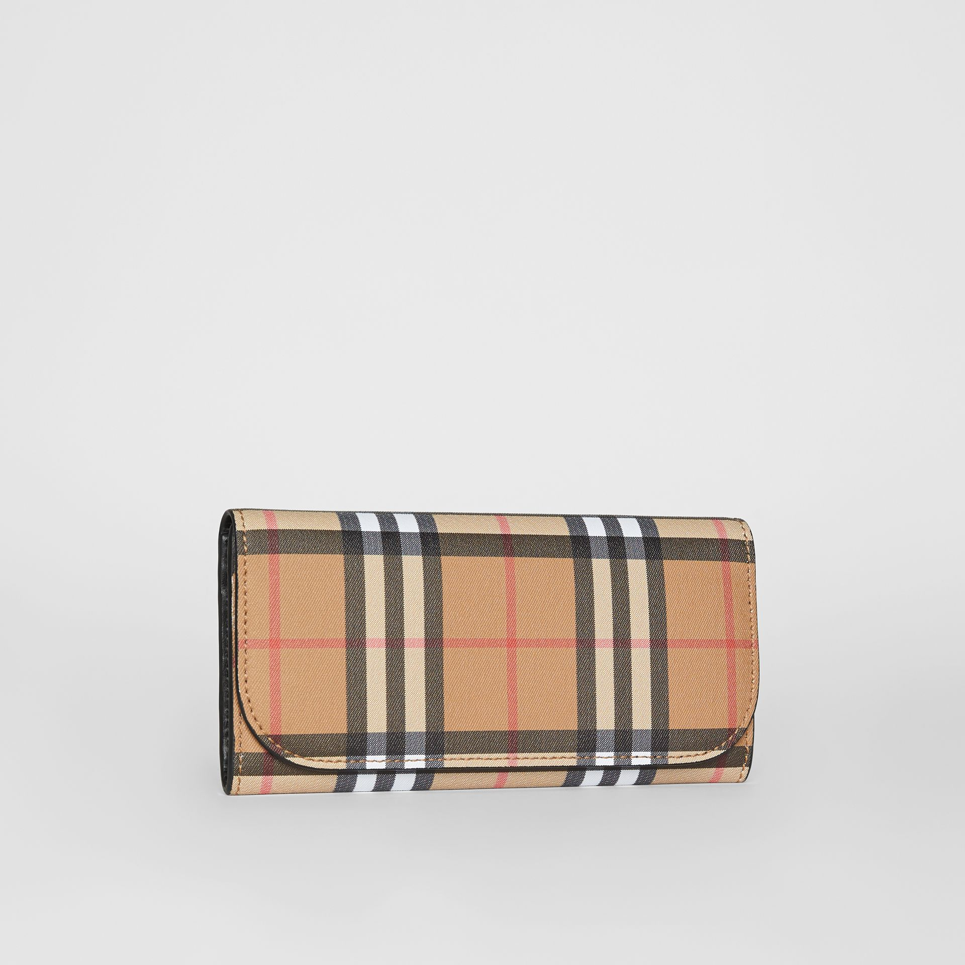 Vintage Check and Leather Continental Wallet in Black - Women | Burberry Australia - gallery image 3