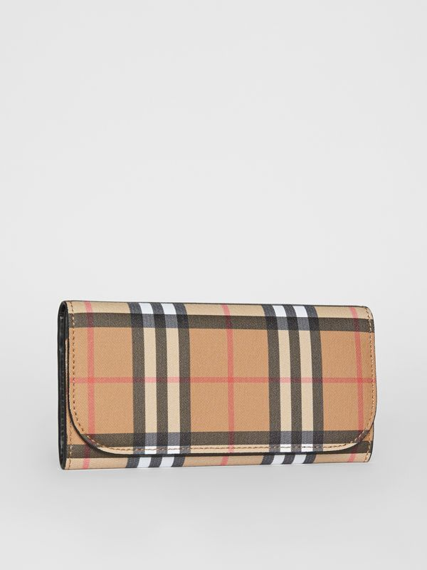 Vintage Check and Leather Continental Wallet in Black - Women | Burberry Australia - cell image 3