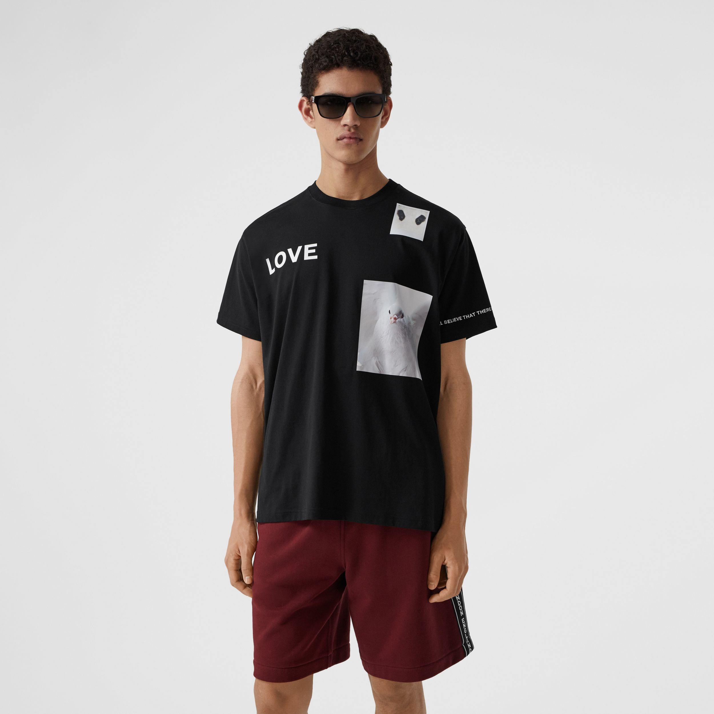 Montage Print Cotton T-shirt in Black - Men | Burberry - 1