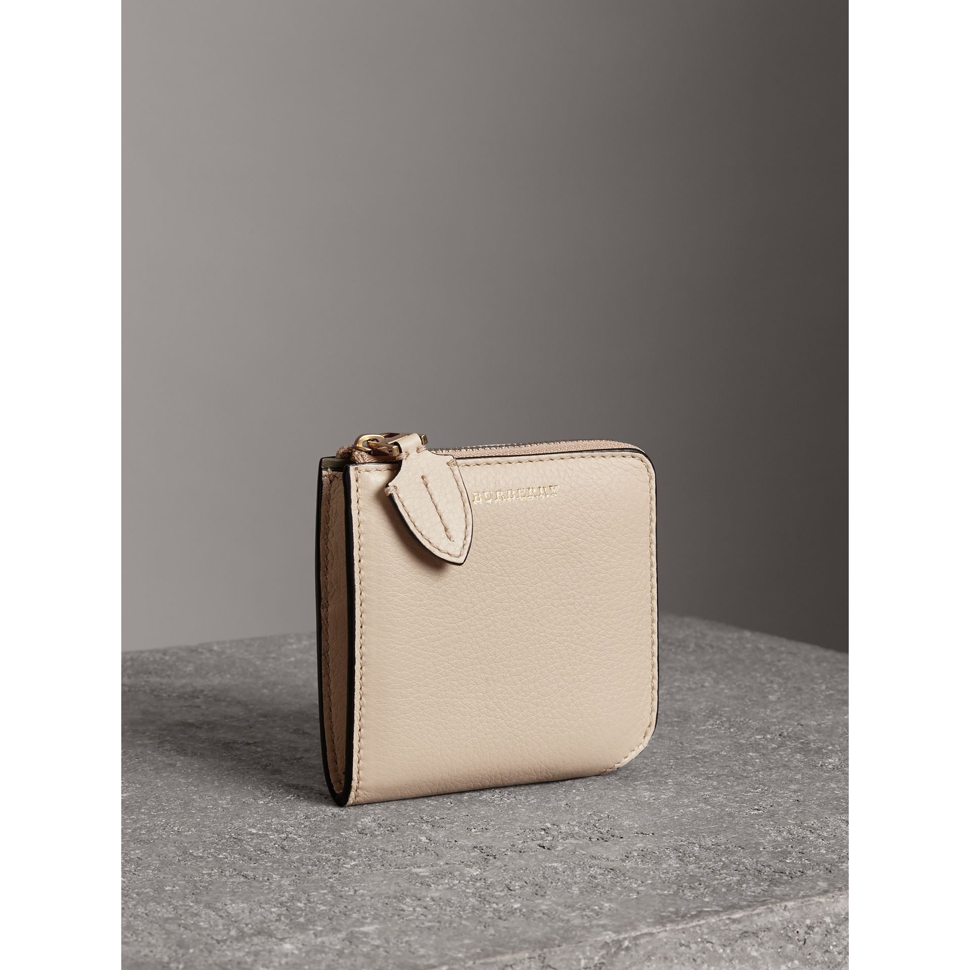 Grainy Leather Square Ziparound Wallet in Limestone - Women | Burberry Canada - gallery image 4