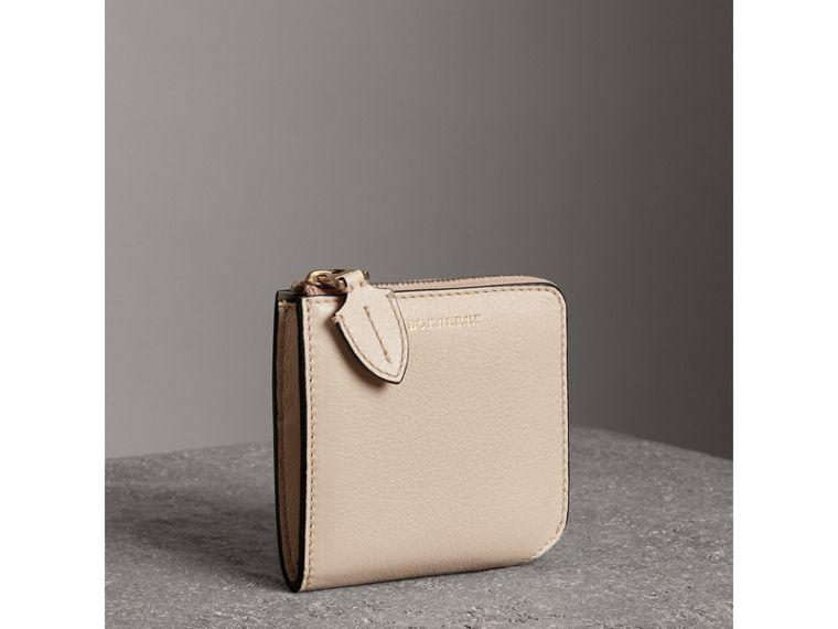 Grainy Leather Square Ziparound Wallet in Limestone - Women | Burberry - cell image 4
