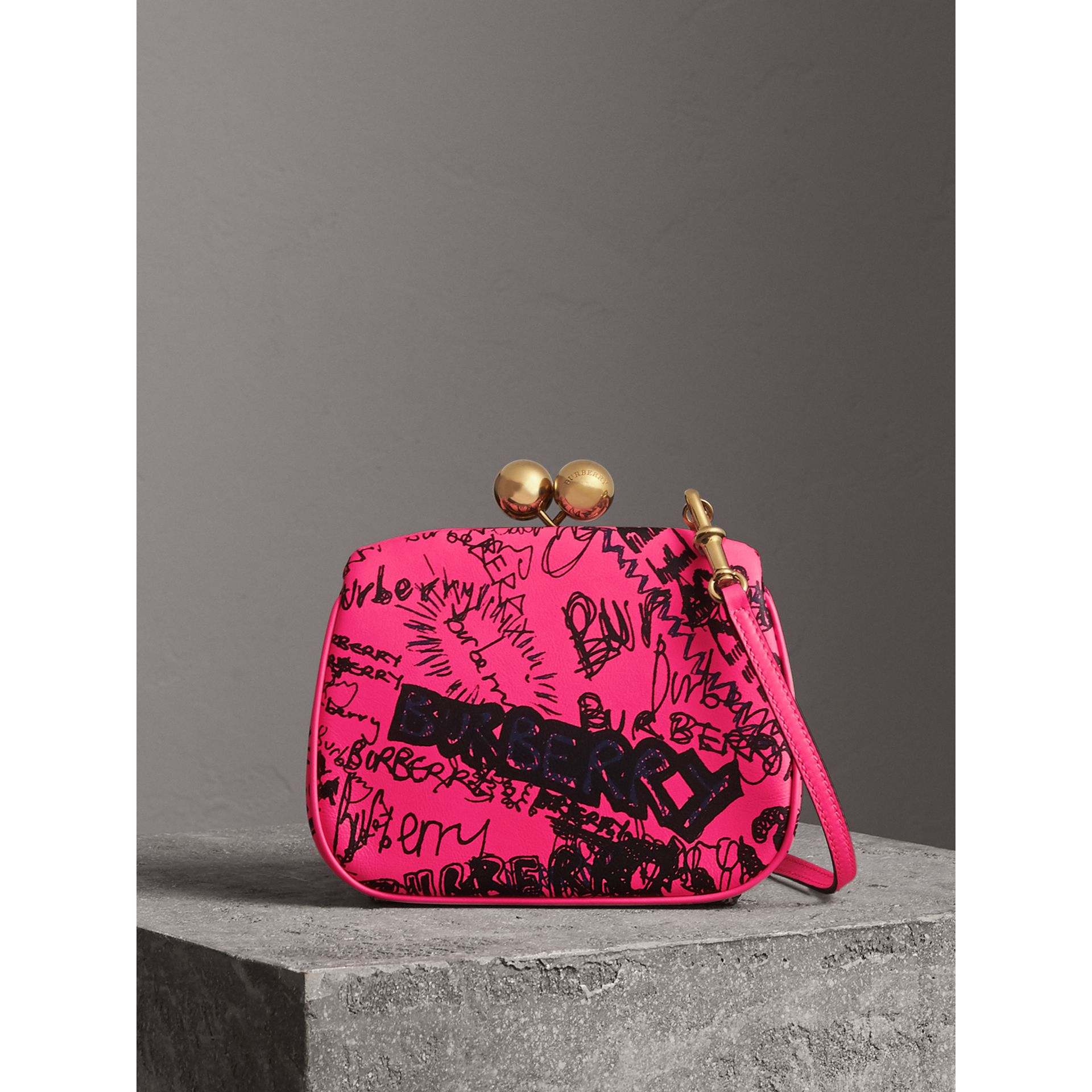 Small Doodle Print Leather Metal Frame Clutch Bag in Neon Pink - Women | Burberry - gallery image 0