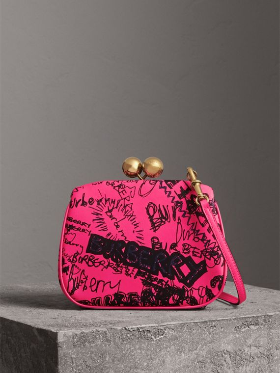 Small Doodle Print Leather Metal Frame Clutch Bag in Neon Pink