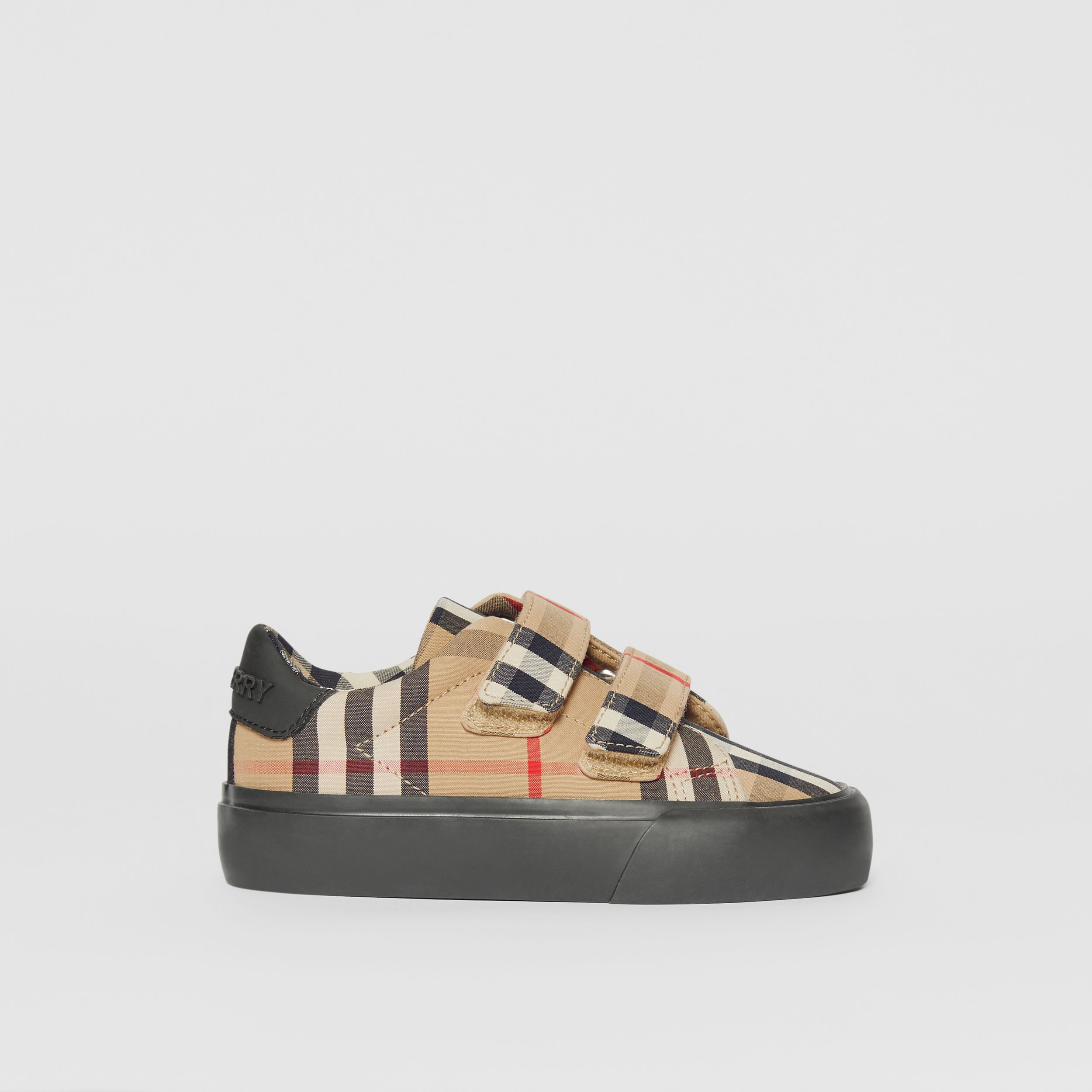Vintage Check Cotton Sneakers in Archive Beige/black - Children | Burberry Australia - 4