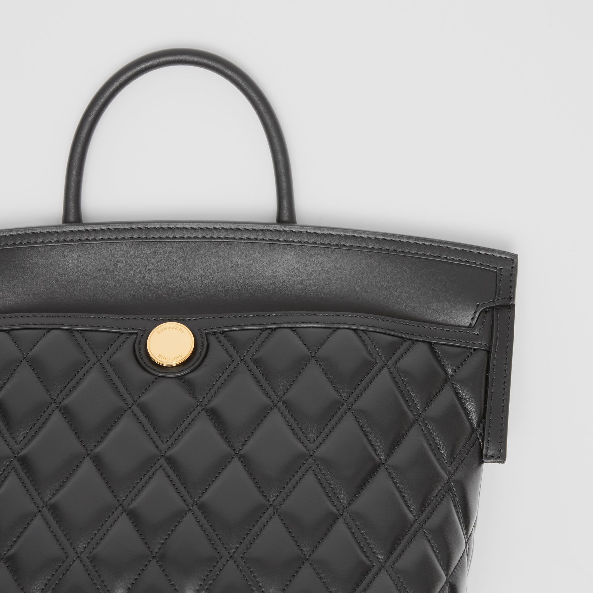 Small Quilted Lambskin Society Top Handle Bag in Black - Women | Burberry United Kingdom - gallery image 6