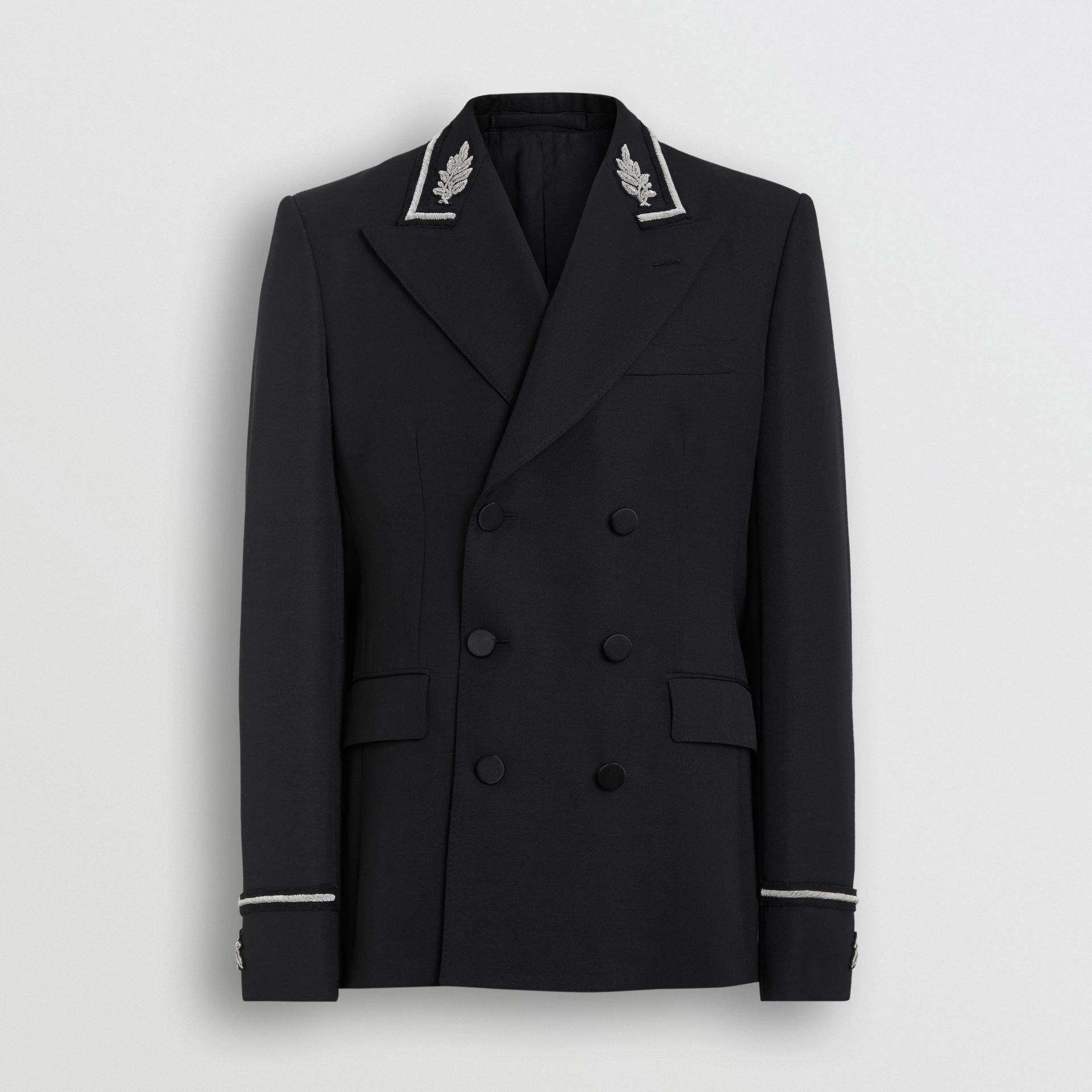 Slim Fit Bullion Wool Double-breasted Jacket in Black - Men | Burberry Singapore - gallery image 3