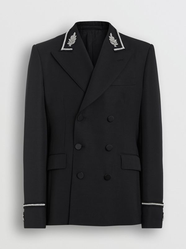 Slim Fit Bullion Wool Double-breasted Jacket in Black - Men | Burberry Singapore - cell image 3