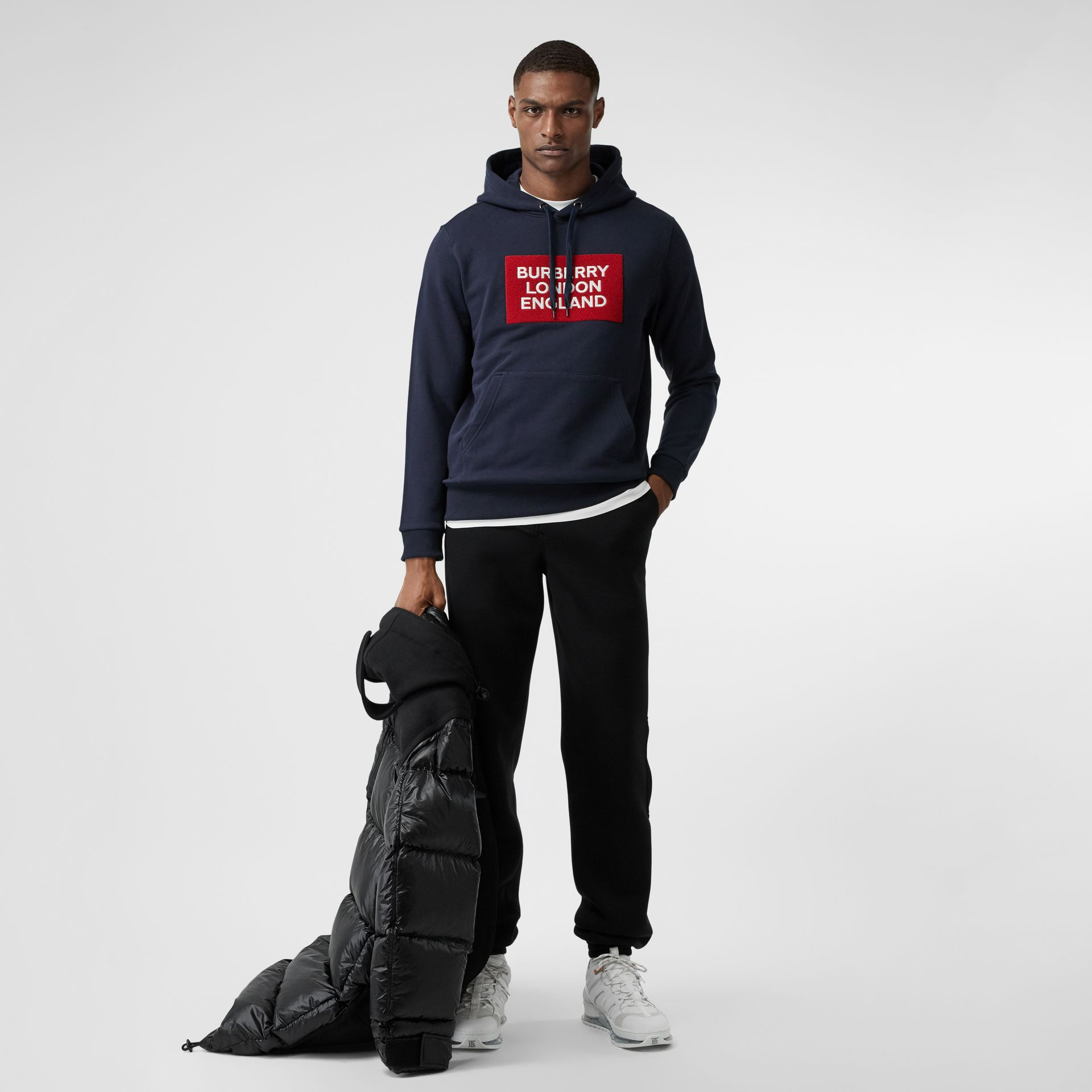 Logo Appliqué Cotton Hoodie in Navy - Men | Burberry - gallery image 0
