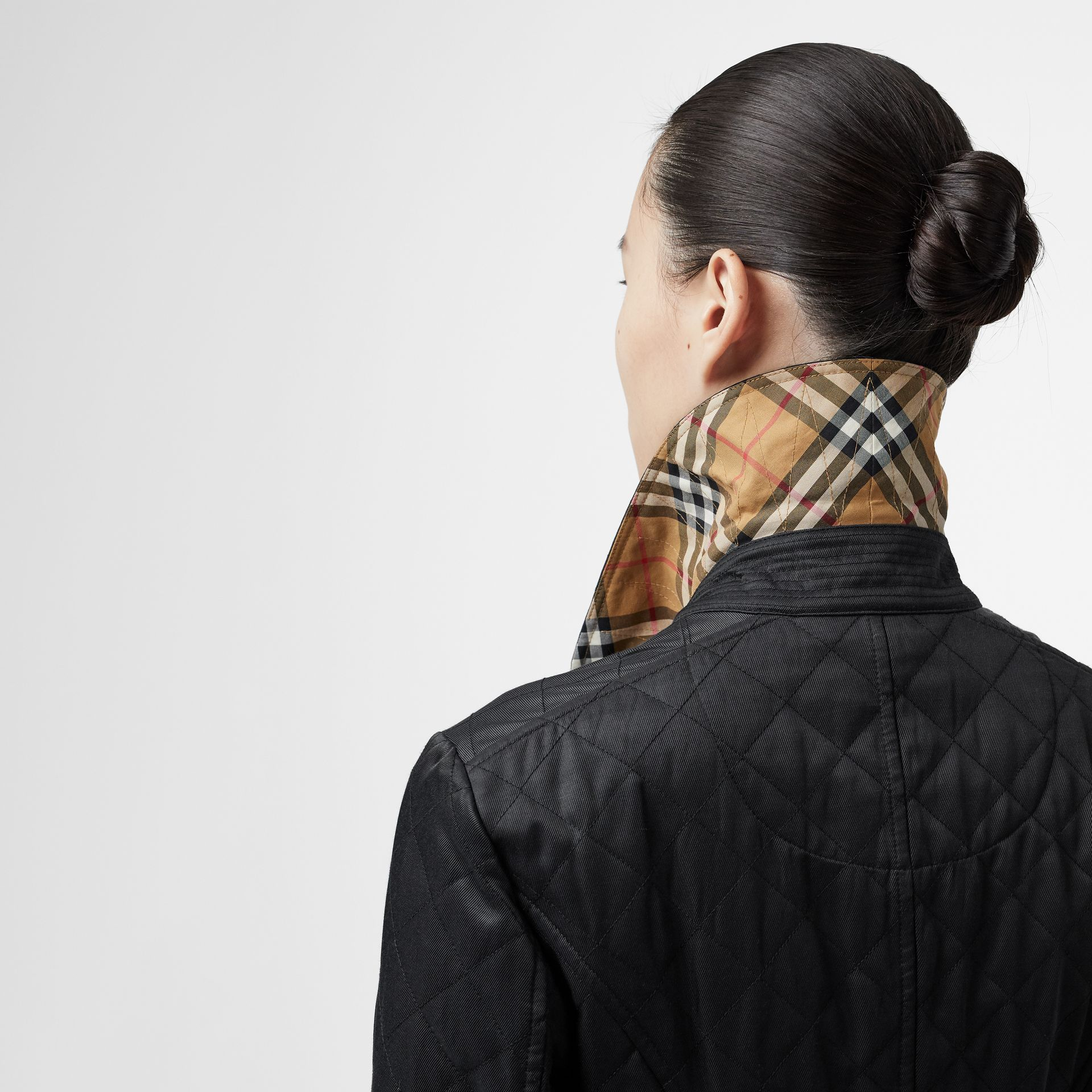 Logo Button Diamond Quilted Jacket in Black - Women | Burberry - gallery image 4