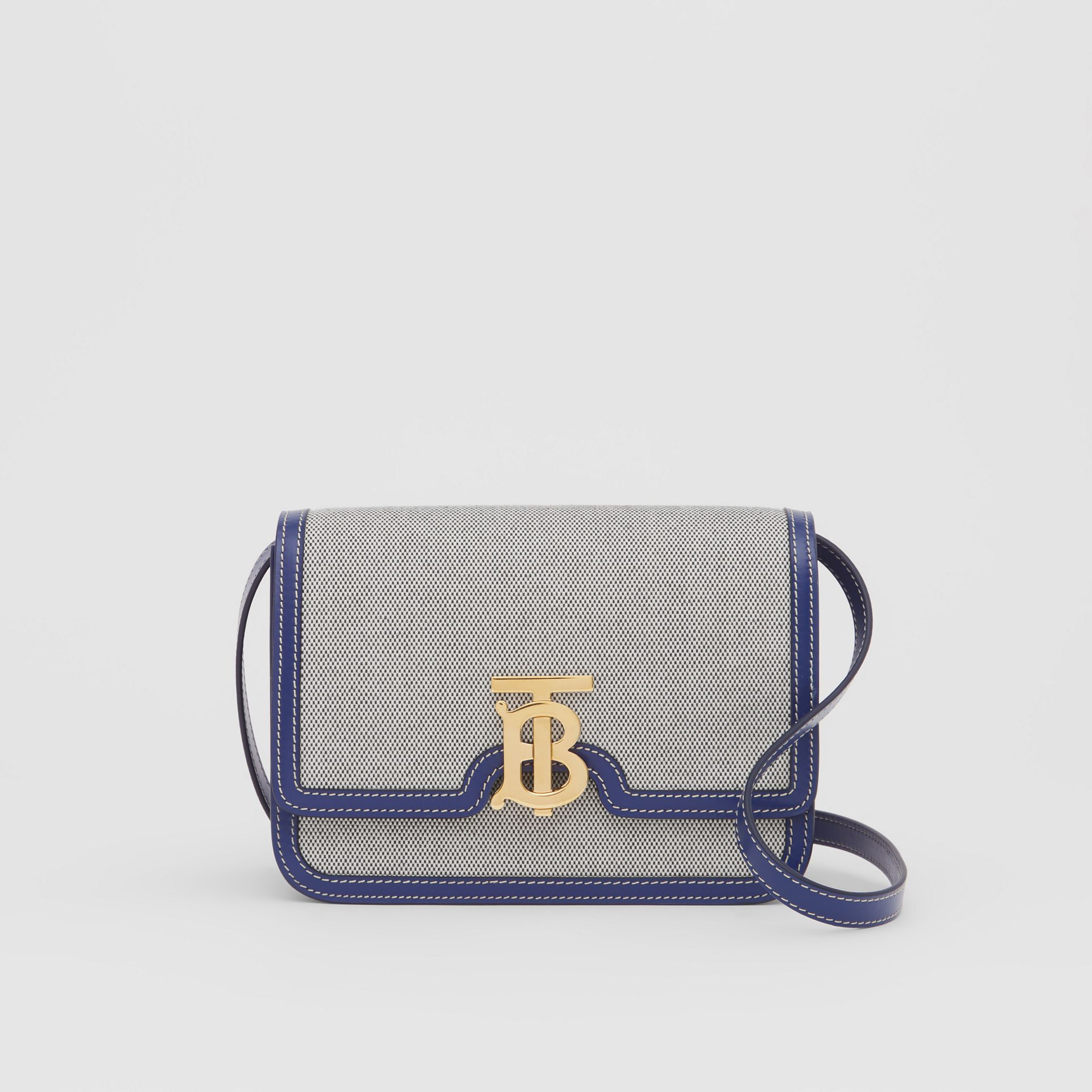 Small Two-tone Canvas and Leather TB Bag in Ink Navy - Women | Burberry - gallery image 0