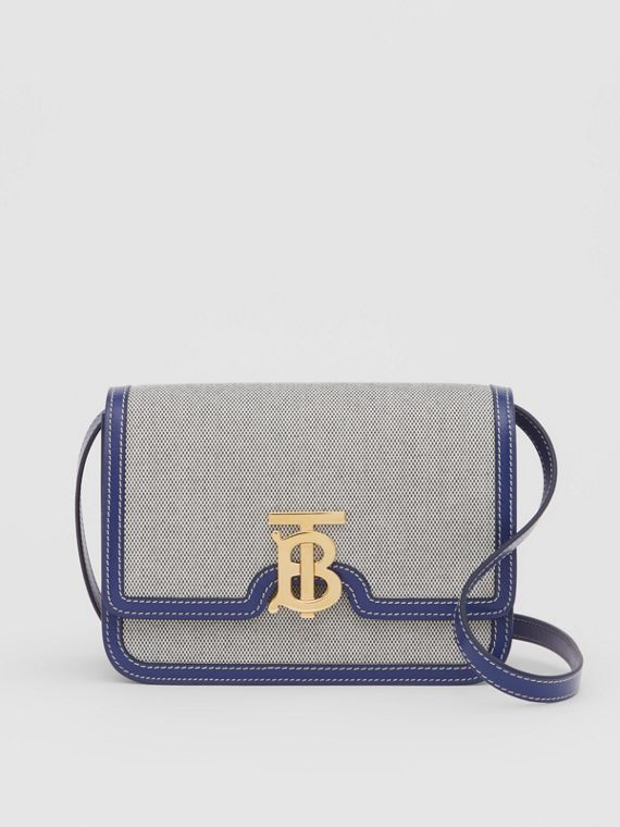 Small Two-tone Canvas and Leather TB Bag in Ink Navy