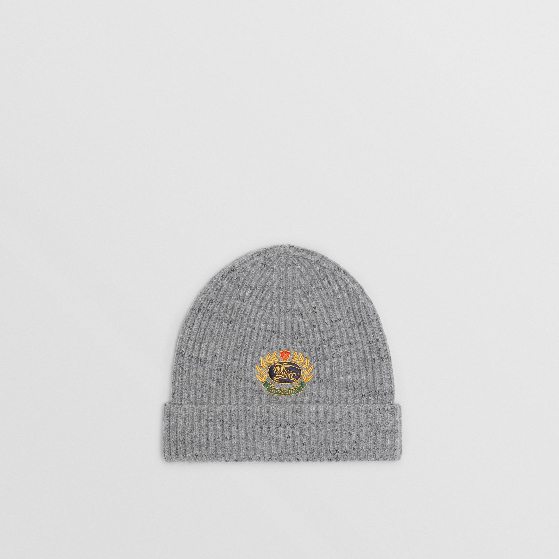 Embroidered Archive Logo Wool Blend Beanie in Grey Melange | Burberry - gallery image 0
