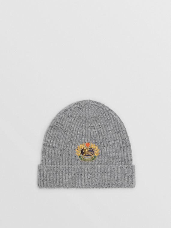 Embroidered Archive Logo Wool Blend Beanie in Grey Melange