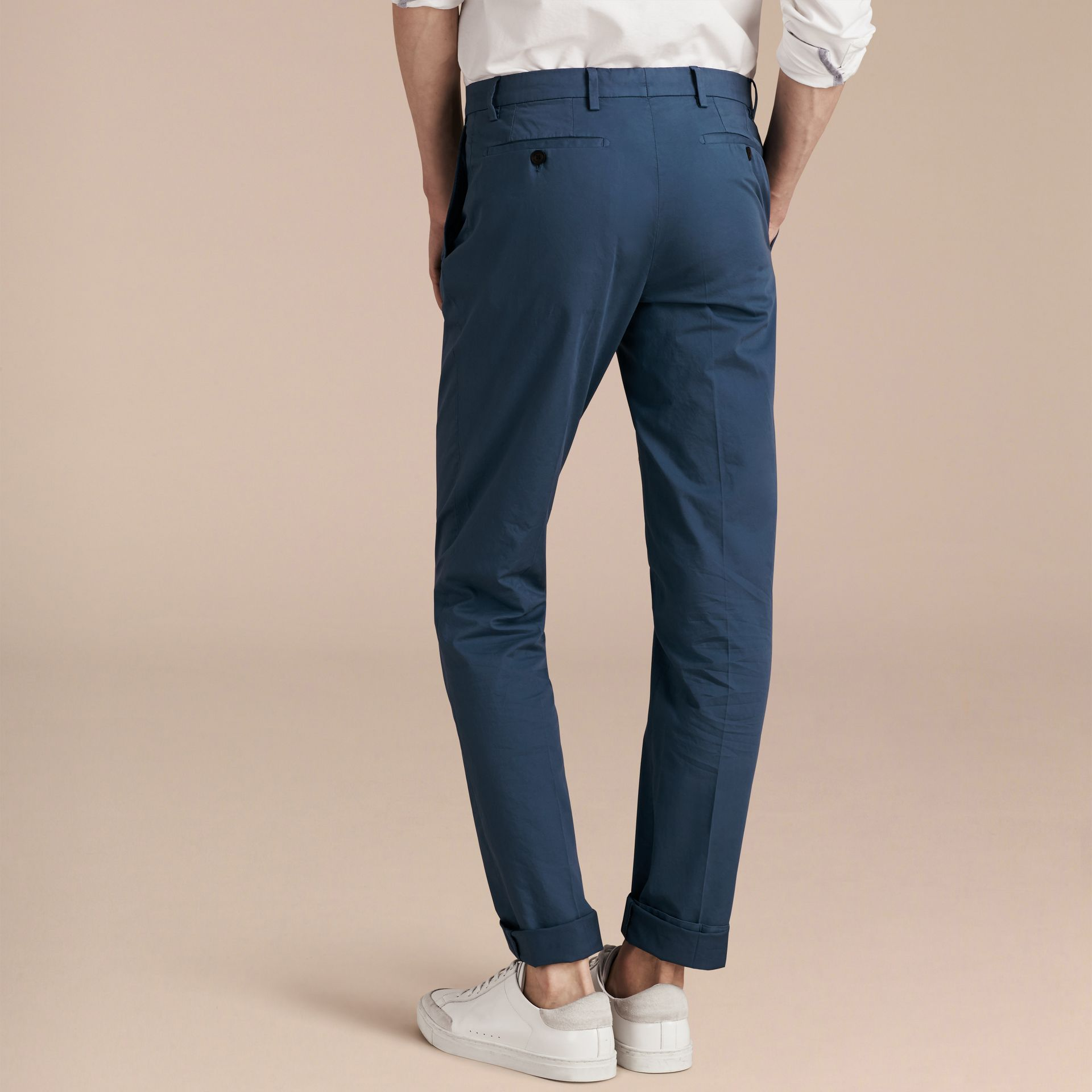 Bright steel blue Slim Fit Stretch Cotton Trousers Bright Steel Blue - gallery image 3