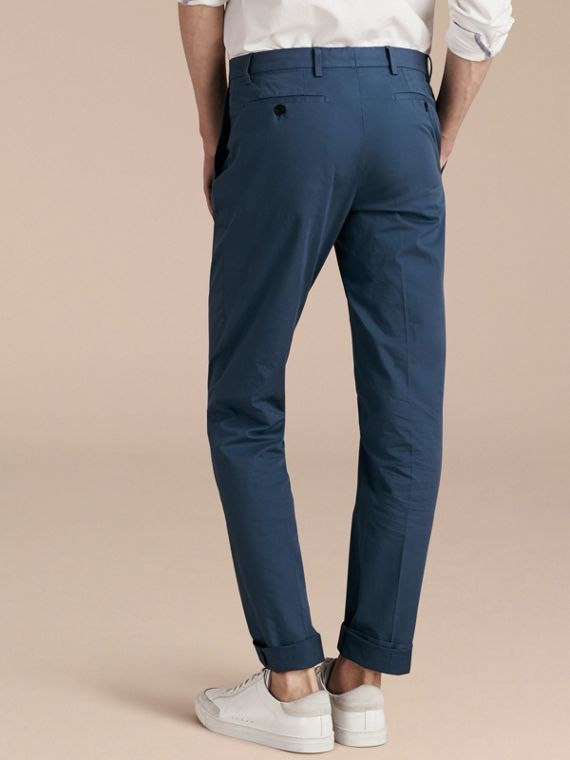 Bright steel blue Slim Fit Stretch Cotton Trousers Bright Steel Blue - cell image 2
