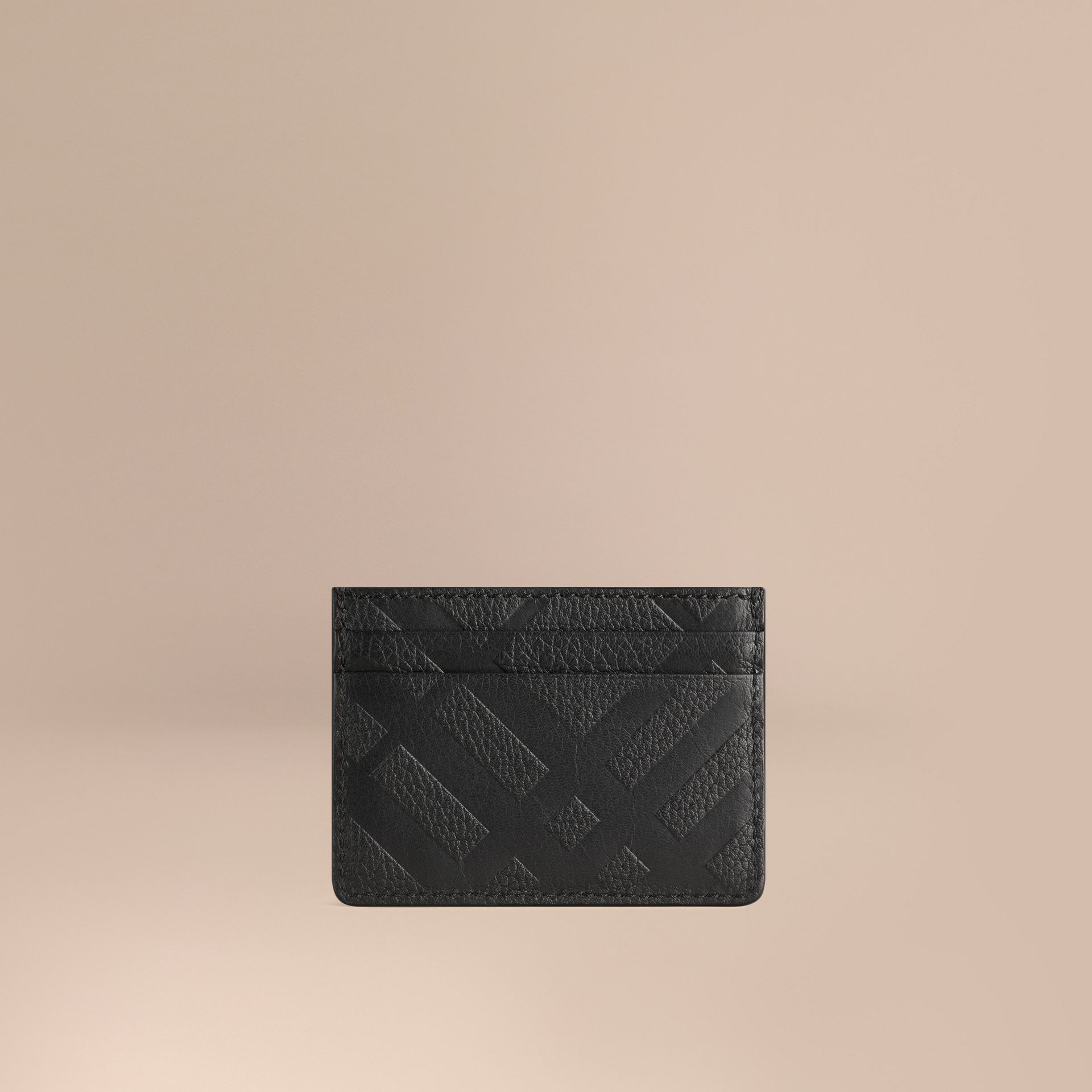 Black Embossed Check Leather Card Case Black - gallery image 1