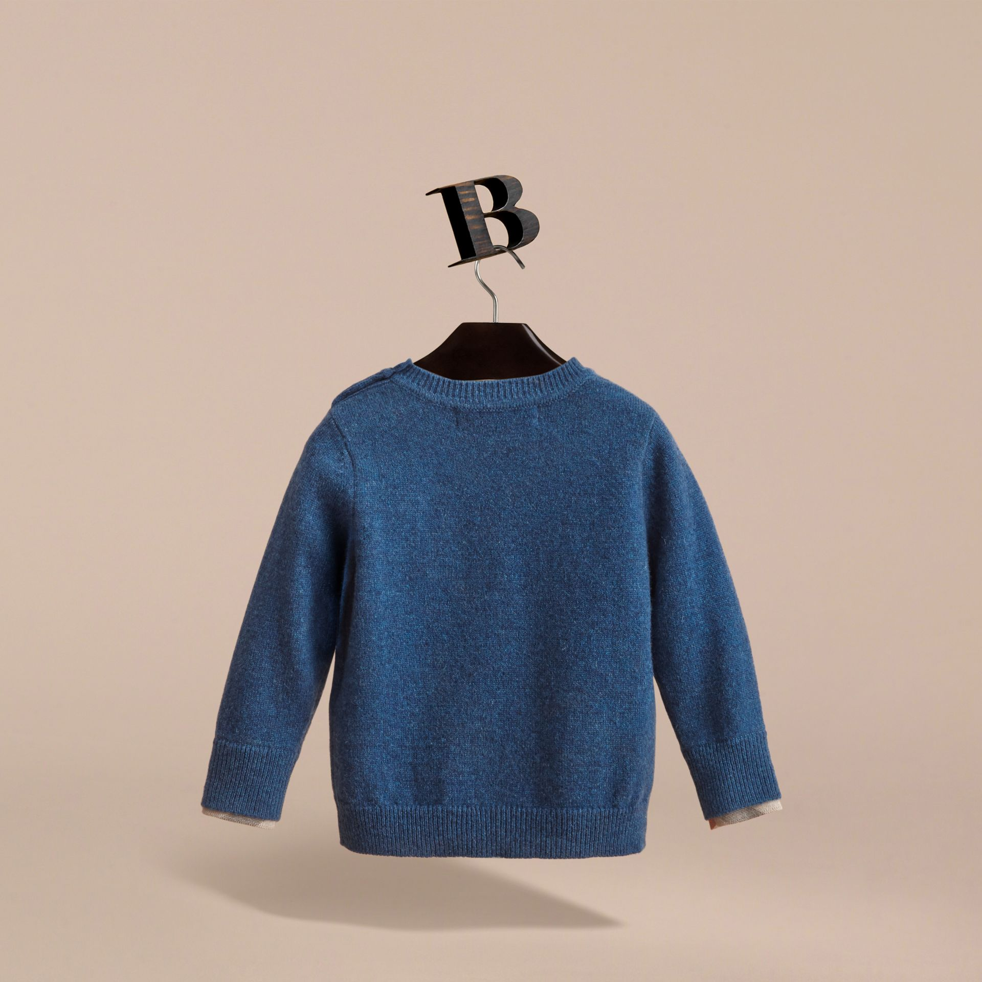 Check Detail Cashmere Sweater in Mineral Blue Melange | Burberry - gallery image 4