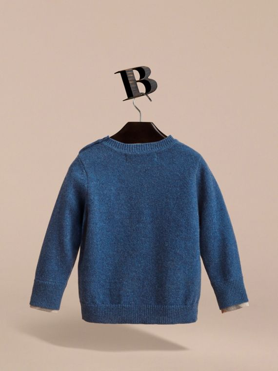 Check Detail Cashmere Sweater in Mineral Blue Melange | Burberry - cell image 3