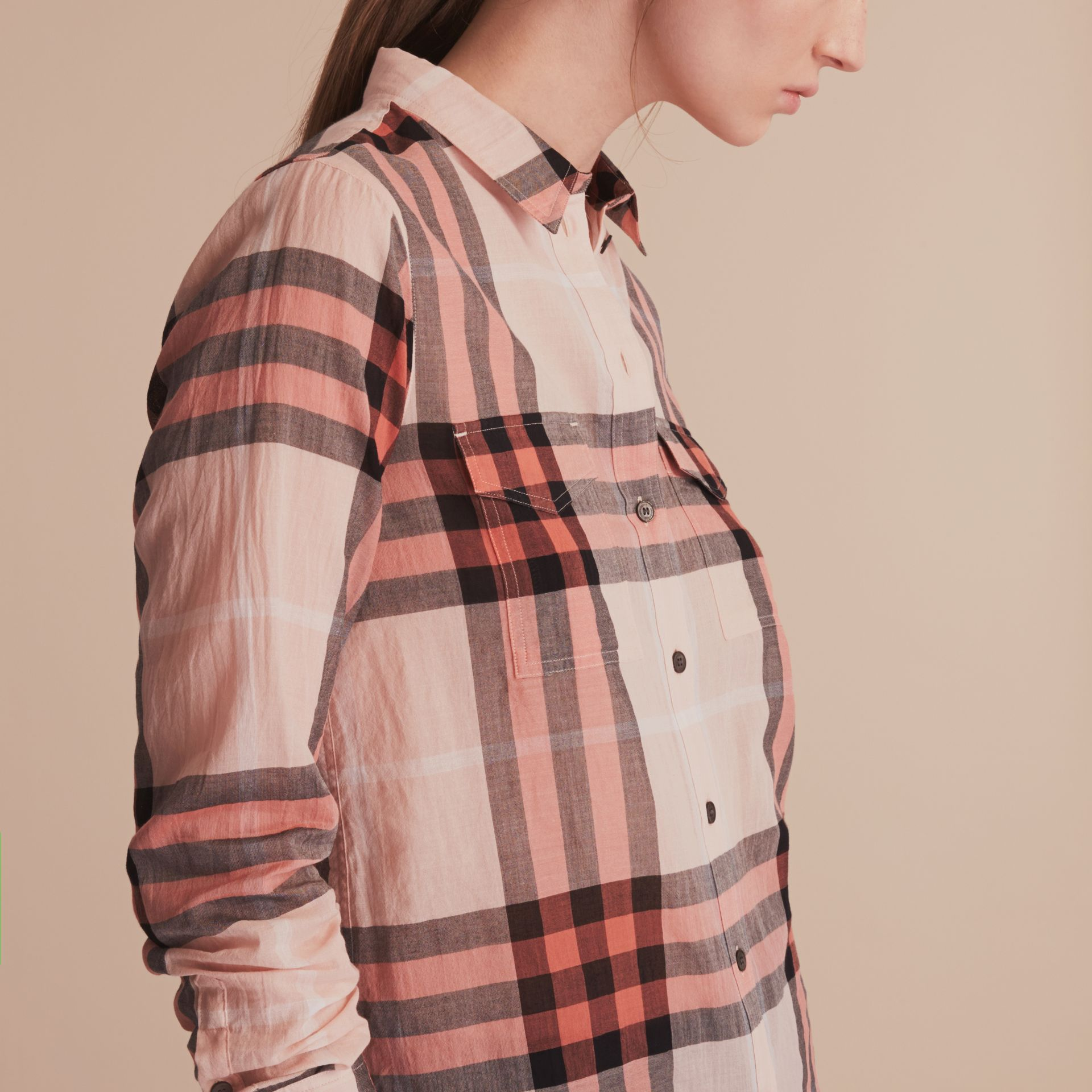 Check Cotton Shirt Apricot - gallery image 5