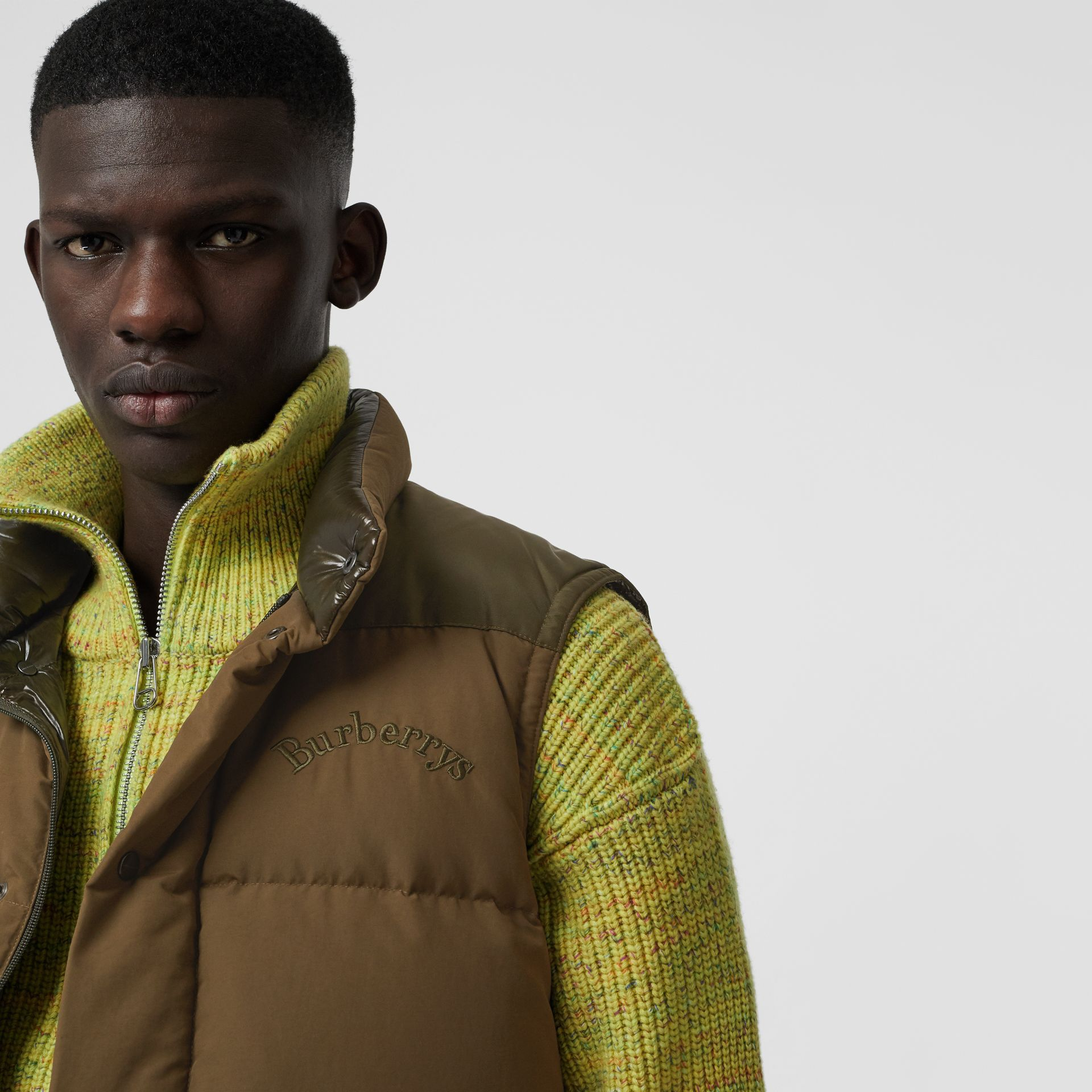 Embroidered Archive Logo Down-filled Gilet in Olive - Men | Burberry - gallery image 1