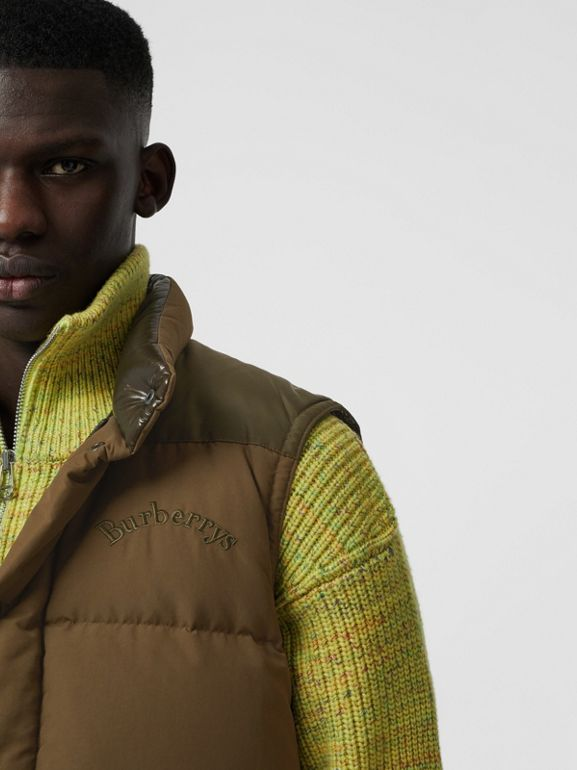 Embroidered Archive Logo Down-filled Gilet in Olive - Men | Burberry - cell image 1