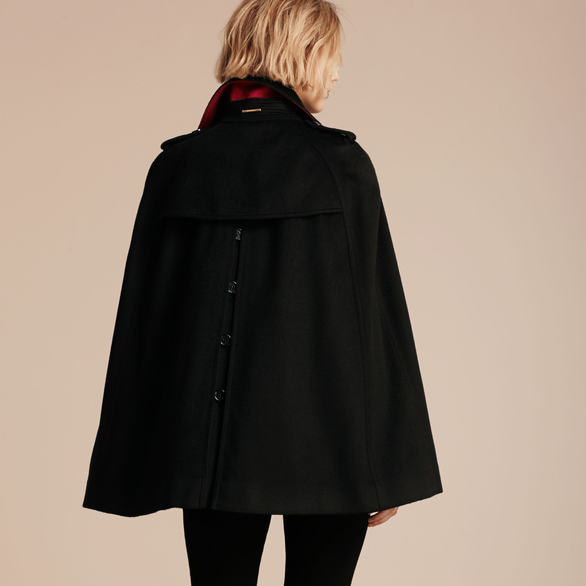 Black Cashmere Military Cape Coat - gallery image 3