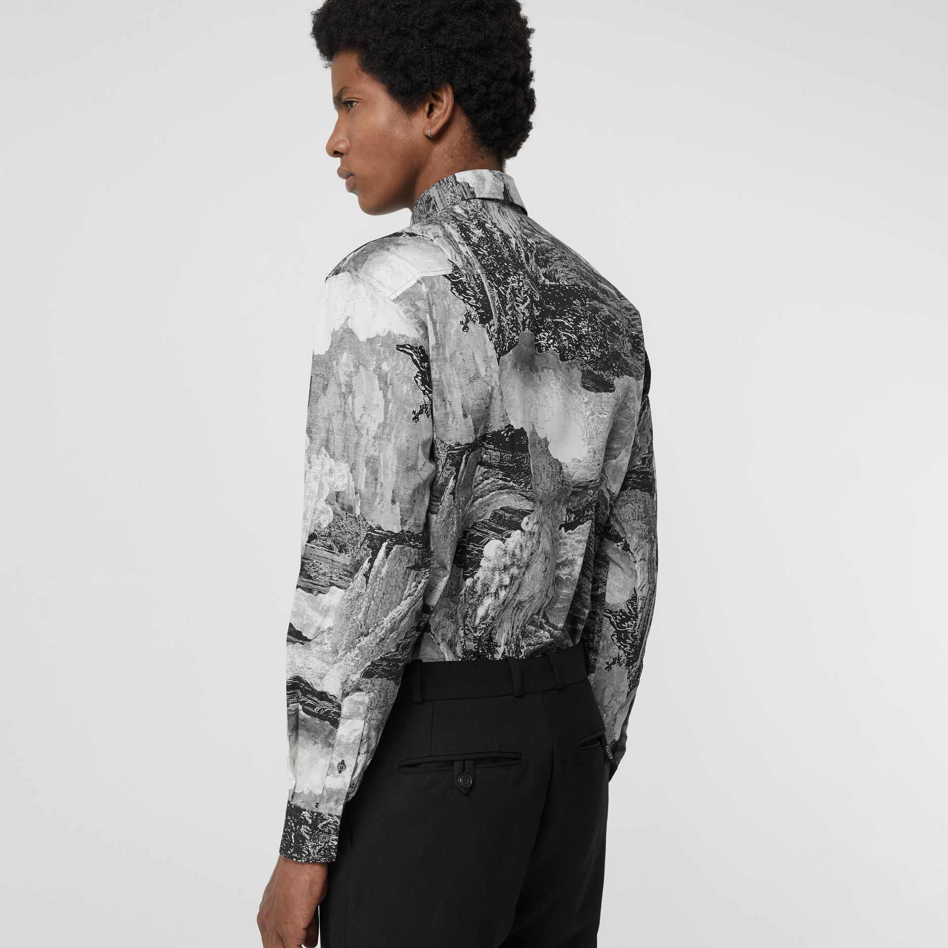 Dreamscape Print Cotton Silk Shirt in Black - Men | Burberry Australia - gallery image 2