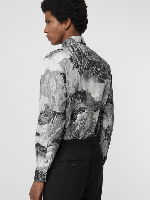 Dreamscape Print Cotton Silk Shirt in Black - Men | Burberry - cell image 2