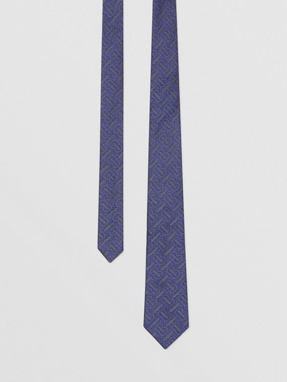 經典剪裁花押字絲綢混紡提花領帶 (亮靛青)