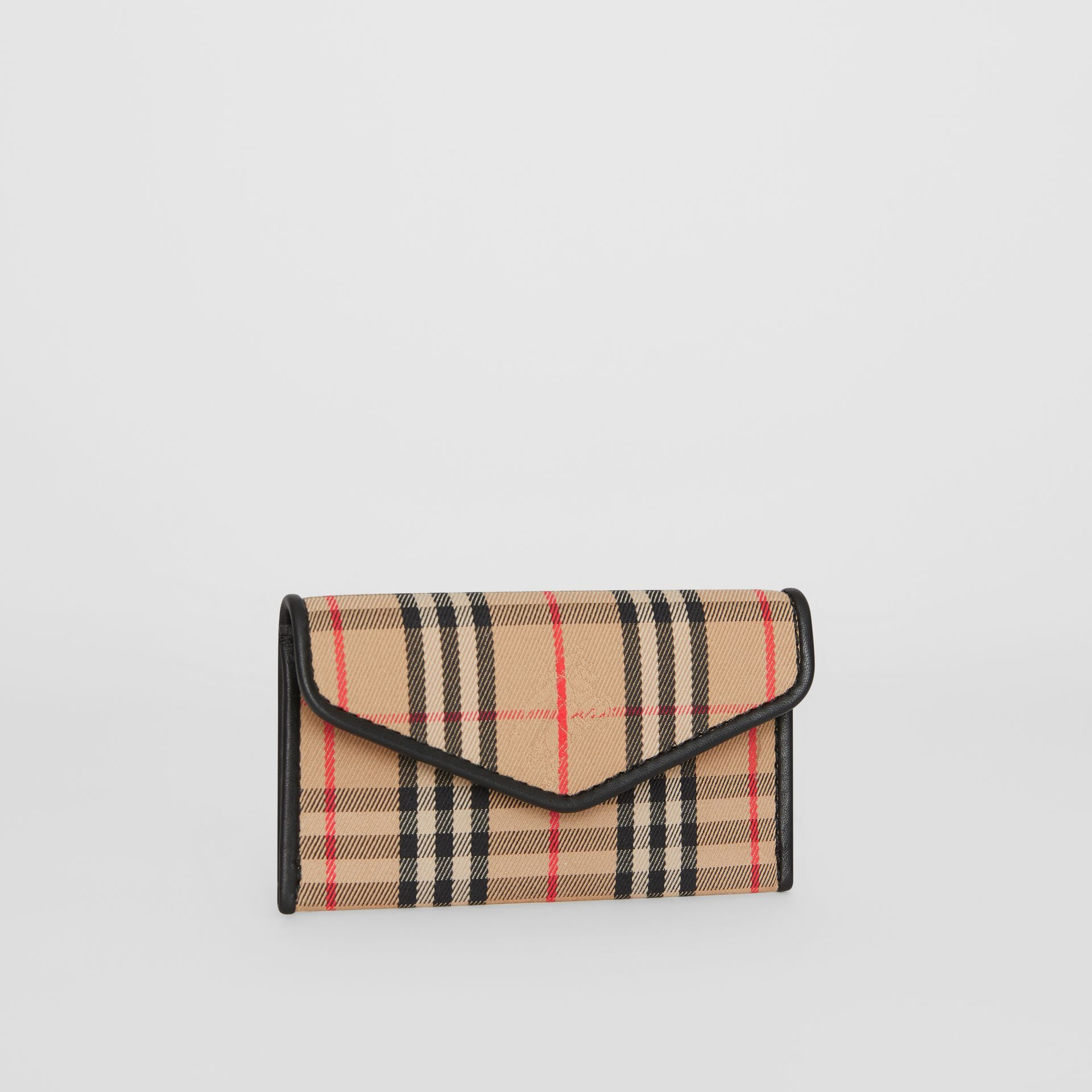 1983 Check and Leather Envelope Card Case in Black - Women | Burberry - gallery image 4