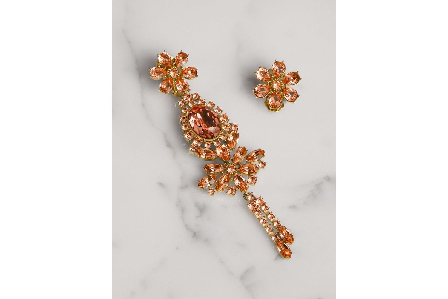 Crystal Drop Earring and Stud Set in Coral Pink