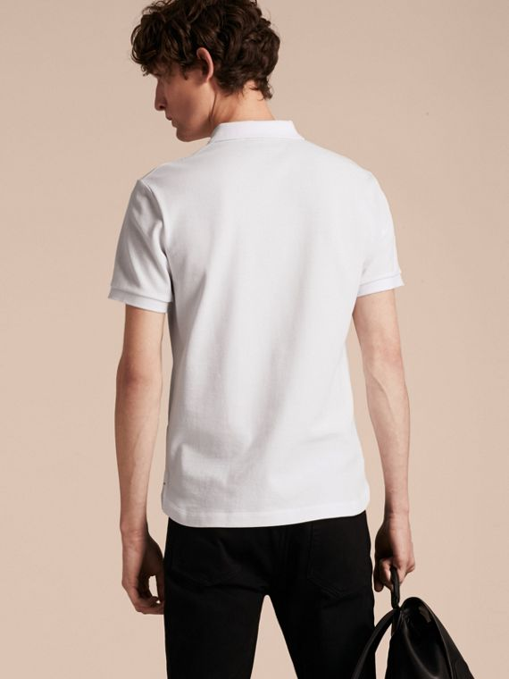 Printed Check Placket Cotton Piqué Polo Shirt in White - cell image 2