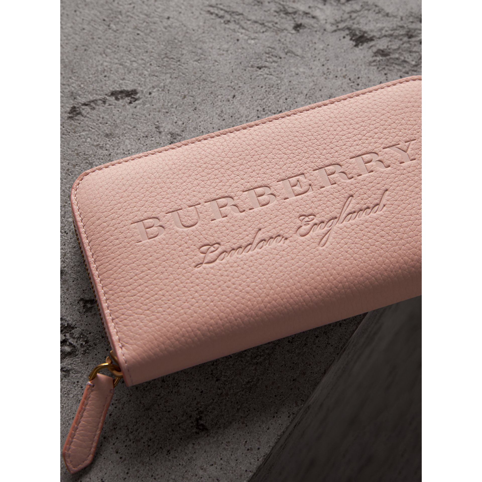 Embossed Leather Ziparound Wallet in Pale Ash Rose | Burberry - gallery image 1