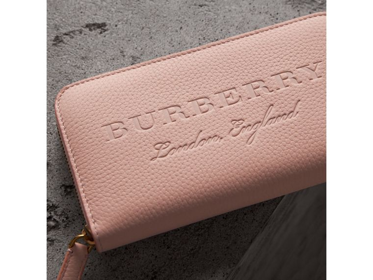 Embossed Leather Ziparound Wallet in Pale Ash Rose - Women | Burberry Canada - cell image 1