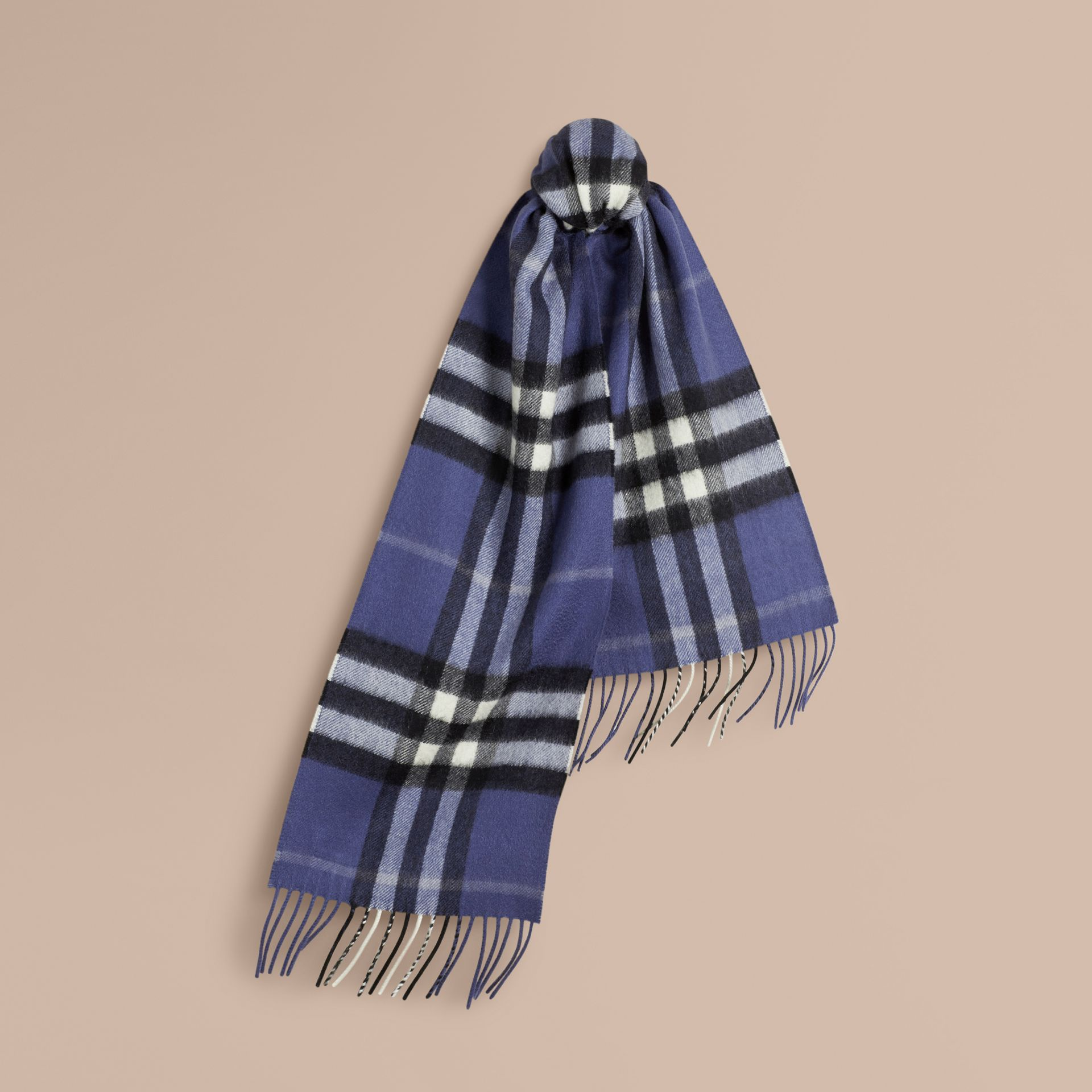 Thistle blue The Mini Classic Cashmere Scarf in Check - gallery image 1